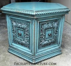 Ornate Sea Blue Hexagon End Table with Black Glaze. From Facelift Furniture's End Tables collection.