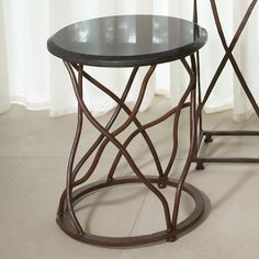 """GRATS DÉCOR   Laura 15""""Dia Iron Side Table with Black Granite Top"""