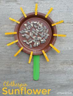 Mini Clothespin Sunflower