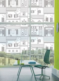 -84052 City Deco Black 80 Decorative Frosted Window film