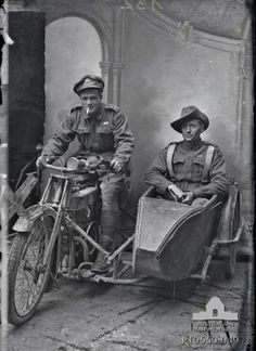 Portrait of two Australian soldiers on a despatch motorcycle and sidecar. Identified on the right, in the sidecar, is 750 Lieutenant Sydney Hubert Carroll MC, 4th Machine Gun Battalion; and left, on the motorcycle, is an unidentified 4th Brigade Headquarters staff officer, also wearing a Military Cross. Taken by Louis and Antoinette Thuillier in Vignacourt, France during the period 1916 to 1918.Object TypeBlack & white - Glass original quarter-plate negativeItem IDP10550.049Source…