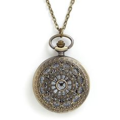 Vintage Inspired, 30s, 40s, Scholastic Turn Back Time Necklace ($25) ❤ liked on Polyvore featuring jewelry, necklaces, accessories, steampunk, watches, bronze, steampunk necklace, cocktail jewelry, special occasion jewelry and button necklace