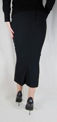 Hobble Skirt Calf Length with Kickpleat - Crepe
