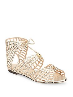Charlotte Olympia Miss Muffet Metallic Leather Sandals - Champagne - S