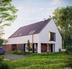 Holiday Home. Photo by Victor Serdobintsev: Architectural Illustrator Artist House Roof Design, Facade House, Roof Architecture, Modern Architecture House, Villa, German Houses, Modern Barn House, Small Modern Home, Simple House