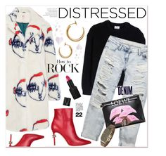 """""""Distressed Denim"""" by watereverysunday ❤ liked on Polyvore featuring Dsquared2, Shrimps, Maison Margiela, Acne Studios, Wet Seal, Loewe, NARS Cosmetics, Alima and distresseddenim"""