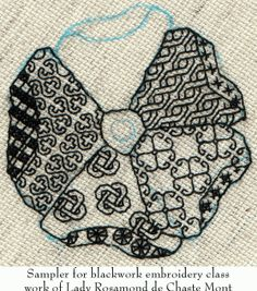 work of Lady Rosamond de Chaste Mont Blackwork Patterns, Blackwork Embroidery, Embroidery Needles, Ribbon Embroidery, Cross Stitch Embroidery, Embroidery Ideas, Line Design Pattern, Contemporary Embroidery, Monochrom