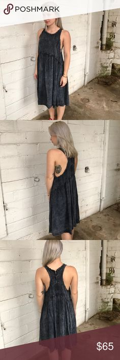 Altar'd state dress! New With Tags!!! This is such a great dress! Great distressed black color with detail outlining the top! Racer back with zipper!  37 inches in length, 12 inches across the bust. 100% rayon! Altar'd State Dresses Midi