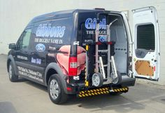 Gibbons Ford Transit mini cargo van with HTS Systems' HTS-20SFT Ultra-Rack Hand Truck Sentry System. B&P Manufacturing's B&P Liberator hand truck locked quickly and safely aboard. Transform your commercial delivery business into a safe fleet operation with HTS Systems' fleet safety and productivity equipment.