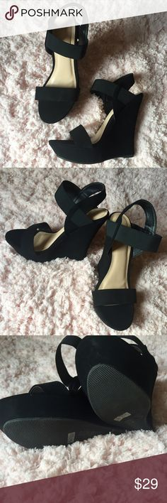 NEW black suede wedges sz 9 Gorgeous and brand new. Size 9 black suede wedges. Shoes Wedges
