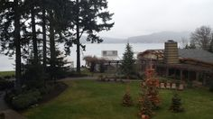 Could be a good place for a family reunion.  90 minutes from SeaTac.  16 cottages and a main lodge.  Kayak, hiking and golf.  Good restaurant.  Alderbrook Resort & Spa in Union, WA