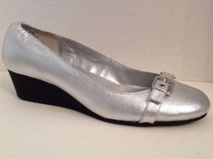 Lauren Ralph Lauren Shoes Womens Size 9 Silver Wedge Heels 9B Ilena Leather LRL #LaurenRalphLauren #PlatformsWedges…