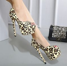 28.63$  Buy here - http://aiufo.worlditems.win/all/product.php?id=32758102199 - MANMITU10-Free Drop Shiping Extreme High 16CM Autumn Leopard Single Shoes Women Platform Pumps Fashion Sexy High Heels Peep Toe