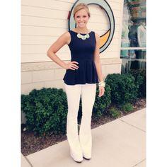 Susana Monaco peplum tank and the most amazing WHITE flare jeans by Paige Premium Denim! [Posh Franklin]