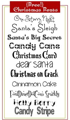 Make your own Christmas cards and gift tags with these free Christmas fonts! Christmas Fonts, Christmas Printables, All Things Christmas, Christmas Holidays, Christmas Decorations, Christmas Quotes, Christmas Signs, Christmas Pictures, Christmas Projects