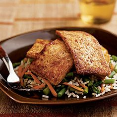 Superfast Vegetarian Recipes   Chili-Glazed Tofu over Asparagus and Rice   CookingLight.com