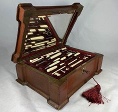 Antique French Napoleon III Era Sewing Box with Implements, Silk Winders, Knitting Needles, Etc