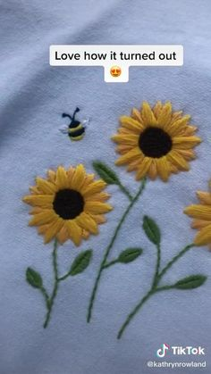 Diy Embroidery Shirt, Diy Embroidery Patterns, Hand Embroidery Videos, Embroidery Stitches Tutorial, Embroidery On Clothes, Flower Embroidery Designs, Simple Embroidery, Hand Embroidery Patterns, Broderie Simple