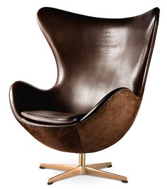 This would be the chair to buy right after a lottery win... Egg chair, brown leather.