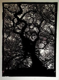 LINO PRINT - Big Tree. $180.00, via Etsy.