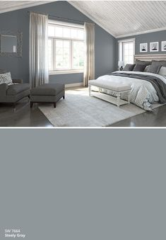 Color Snap by Sherwin-Williams Boys Bedroom Colors, Blue Gray Bedroom, Boys Bedroom Paint, Bedroom Decor, Small Bedroom Paint Colors, Dream Bedroom, Master Bedroom, House Color Schemes, Bedroom Color Schemes