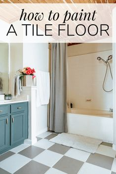 Did you know you can PAINT tile floor that you don't like! Learn all about this special paint meant for tile floor and how you can totally transform your space for just the cost of paint. Painted Bathroom Floors, Painting Tile Floors, Painted Floors, Bathroom Floor Tiles, Painted Floor Tiles, House Painting, Budget Bathroom, Bathroom Renovations, Bathroom Ideas
