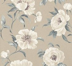 Peony Garden Porcelain  (1602/047) - Prestigious Wallpapers - A grand, elegant wallpaper featuring large scale, stylized peony flowers. Shown here in porcelain. Other colourways are available. Please request a sample for a true colour match. Wide width product. Paste-the-wall product.