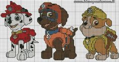 Paw patrol plastic canvas patterns toys figures clothes skye birthday gifts everest toy marshall zuma vehicles games ideas chase truck tracker new slippers rocky pajamas racers rubble ryder sale de… Cross Stitch For Kids, Cross Stitch Baby, Cross Stitch Animals, Counted Cross Stitch Patterns, Cross Stitch Charts, Cross Stitch Designs, Cross Stitch Embroidery, Embroidery Patterns, Paw Patrol