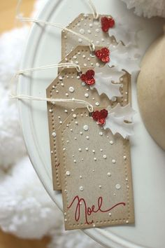 SSS Falling snow stencil; embossing paste; INK:  (Fresh Ink) Red Currant; Papertrey Ink Holly Jolly Die set - pretty noel christmas tags