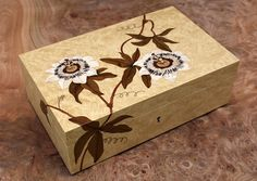 Passion Flower Marquetry Box Coloured veneer on a bleached burr maple background. Commission
