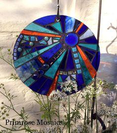 Glass mosaic garden suncatcher. Kingfisher blue. Art for the garden.  Handcrafted personalised gifts for gardeners.  www.primrosemosaics.com