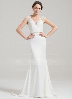 Trumpet/Mermaid V-neck Sweep Train Beading Sequins Zipper Up Cap Straps Sleeveless Church General Plus No Winter Spring Fall Ivory Satin Lace Height:5.7ft Bust:33in Waist:24in Hips:34in US 2 / UK 6 / EU 32 Wedding Dress