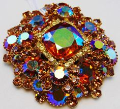 Large DeLizza and Elster D&E Juliana Layered Madiera Topaz Vintage Costume Jewelry, Vintage Costumes, Vintage Jewelry, Peacock Jewelry, Beaded Jewelry Patterns, Rhinestone Jewelry, Clip On Earrings, Jewelry Shop, Vintage Shops