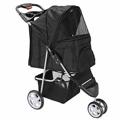 OxGord 3 Wheeler Elite Jogger Pet Stroller CatDog Easy Walk Folding Travel Carrier Onyx Black *** Continue to the product at the image link. This is an Amazon Affiliate links.