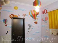 Ζωγραφική παιδικού δωματίου με Αερόστατα και Ζωάκια