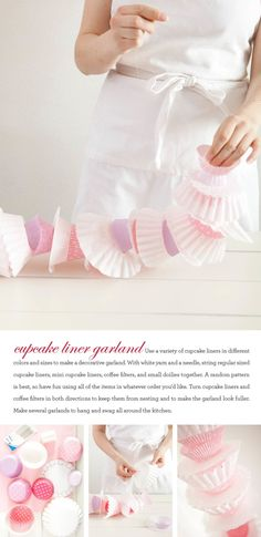 Baking party cupcake garland by one charming party Cupcake Garland, Party Garland, Cupcake Party, Diy Cupcake, Cupcake Birthday, Doily Garland, Cupcake Decorations, Paper Cupcake, Fort Kit