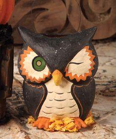 Winking Owl Bucket. Vintage Style Halloween.