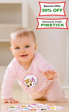 New Baby Monthly Stickers will help you catch the most important moments of your little one. You won't miss any of her milestones. Use code: PINSTICK at checkout. https://www.amazon.com/Premium-Monthly-Baby-Stickers-Milestone/dp/B01FZE6M3O/