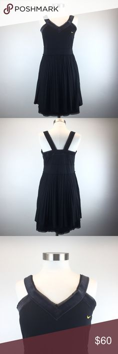 """Nike U.S. Open Tennis Black Maria Sharapova Dress Condition: Excellent; like-new Built-in wireless inner shelf bra Fully lined skirt Velvet trim with mesh detail on straps and continues along bodice top  Yellow Nike logo on chest V-neckline Accordion/pleated style skirt  Approximate measurements taken flat: Bust (underarm to underarm): up to 18.5"""" stretched Waist: up to 19"""" stretched  Length (top of the shoulder strap to hem): 36"""" Nike Dresses Mini"""