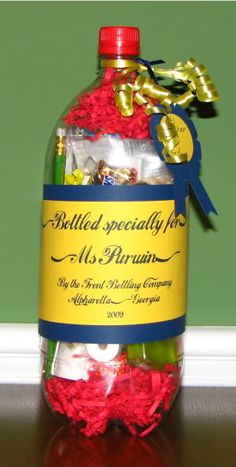 Fun gift idea! Gifts in a soda bottle! (Teacher appreciation, birthday, father's day, just because, etc.)