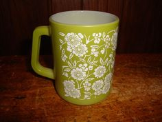 Vintage Federal Glass D Handle Mug Floral Pattern Green Milk Glass