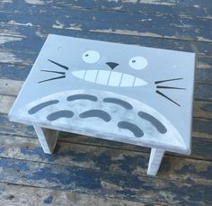 Totoro Step Stool Hand Painted Wood Bathroom Decor Ghibli Gift Collection by DebbieIsAdopted on Etsy https://www.etsy.com/listing/292243305/totoro-step-stool-hand-painted-wood