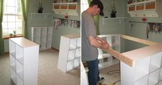He& screwing together three IKEA shelves - transforming the entire room. Sewing Room Storage, Ikea Storage, Craft Tables With Storage, Ikea Regal, Ikea Shelves, Craft Desk, Manicure At Home, Entertainment Room, Ikea Hack