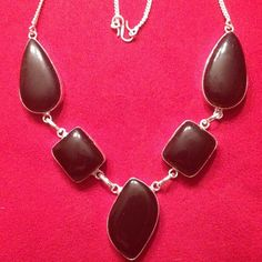 NEW - AWESOME BLACK ONYX MULTI-SHAPED STONES SILVER PLATED STATEMENT NECKLACE #Handmade #Pendant
