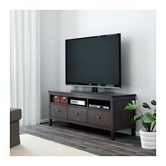 IKEA - HEMNES, TV bench, black-brown, , Open compartments for your DVD player, etc.Large drawers make it easy to keep your things organised.