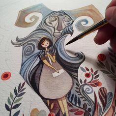 alinachau: #workinprogress of my new painting #alinachau #panlabyrinth…