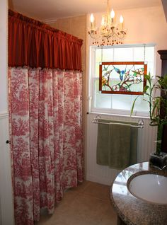 I love Country French Toile Fabric. Made this pretty shower curtain combined with an opaque silk fabric and organza ribbon trim. The look: classic with a touch of  elegance.