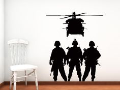 Our Military Troops and Chopper - Vinyl Wall Art Decal. $36.00, via Etsy.