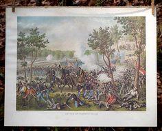 Antique Civil War Prints   Battle of Champion Hills   Kurz and Allison   Bourbon & Boots