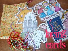 cute LDS church-themed lacing cards- I got free clipart from ldsclipart.org and made some of these.  It was easy!